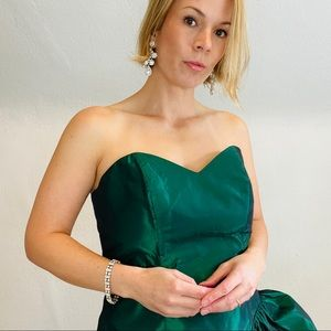 Vintage Emerald Green Iridescent Prom Formal Gown
